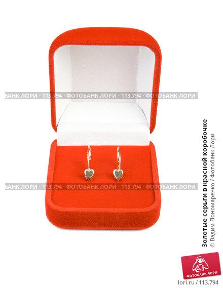 Золотые серьги в красной коробочке, фото № 113794, снято 3 ноября 2007 г. (c) Вадим Пономаренко / Фотобанк Лори