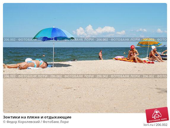 Зонтики на пляже и отдыхающие, фото № 206002, снято 25 августа 2006 г. (c) Федор Королевский / Фотобанк Лори