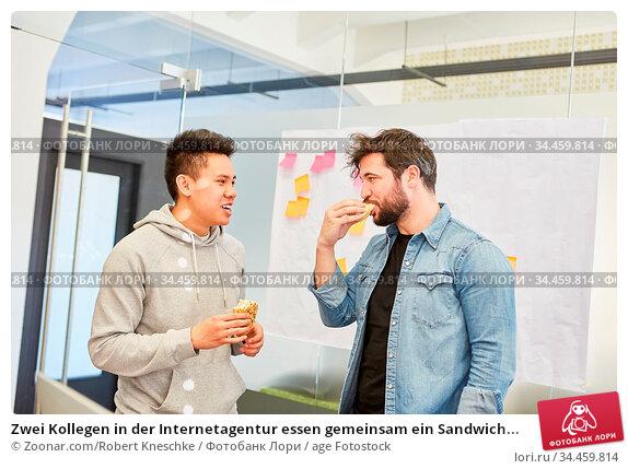 Zwei Kollegen in der Internetagentur essen gemeinsam ein Sandwich... Стоковое фото, фотограф Zoonar.com/Robert Kneschke / age Fotostock / Фотобанк Лори